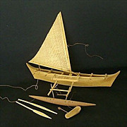SALE South Pacific Souvenir Hand Carved Outrigger Canoe