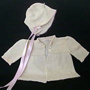 SOLD Infant 1940's Sweater and Cap Restored