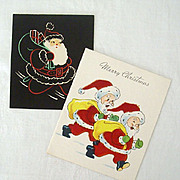Santas With Christmas Greetings