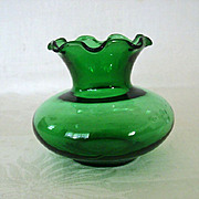SALE Familiar Forest Green Ruffled Vase