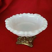 SALE Anchor Hocking Milk Glass Dish on Pedestal