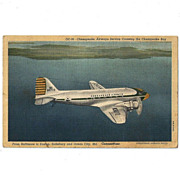 SALE Chesapeake Airways On Delmarva Linen Postcard 1950s
