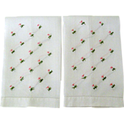 Pair Embroidered Guest Towels Tiny Pink Flowers
