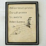 SALE Ink Sketch Short Poem for Mothers Happiness
