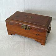 SALE Tiny Decal Tops 1940s Wood Keepsake Box