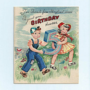 Mid-Century Unused Birthday Card for 5 year old