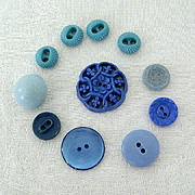 Mid-Century Buttons All Blue