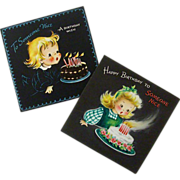 Pair Matching Hallmark Birthday Cards - 1940's