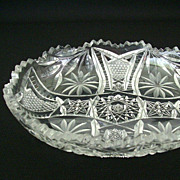 SALE Modern Cut Glass Bowl With Floral And Cross Hatch Pattern