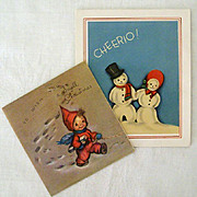 Pair 1940's Snowy Christmas Greetings