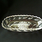 SALE Mid-Century Cut Glass Serving Dish