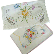 SALE Pair Colorful Embroidered Dresser Scarves
