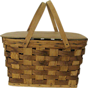 SALE Woven Bent Wood Handled Picnic Basket