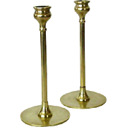 SOLD Pair Brass Candle Holders With Tulip Cup