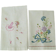 SALE Set of Two Vintage Embroidered Guest Towels