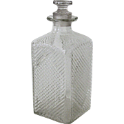 Pressed Glass Decanter Cross Hatch Pattern