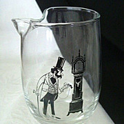 SALE Whimsical Libbey Pitcher Features Grandfather Checking Grandfather Clock