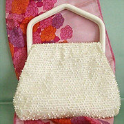 SALE White Beaded Lumured Slump Purse With Plastic Handle