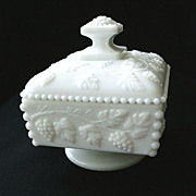 SALE Signed Westmoreland Paneled Grape Candy Dish