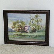SALE Cabin by the Lake  Watercolor Signed Anna Jung 1938