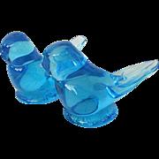 SALE Pair Happy Little Bluebirds By Titan Art Glass