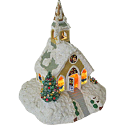 SALE Hand Crafted 1970's Ceramic Church Spreads Holiday Cheer