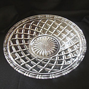 SALE Large Pressed Glass Serving Plate With Basket Design