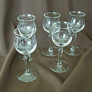 SALE Set Of Five Dainty Cordial Glasses