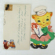 Christmas Card 1944 With Wartime Patriotic Sticker
