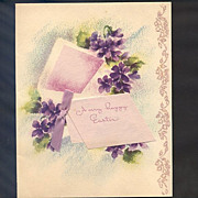 Easter Card From 1947 Blooming With Spring Violets