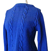 SALE Hand-Made Royal Blue Cable Stitch Sweater 1950s