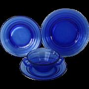 SALE Hazel Atlas Cobalt Blue Moderntone Plates & Cream Soup