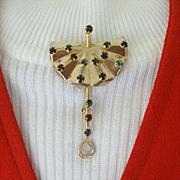 SALE Classic 1940's Umbrella Lapel Pin With Colored Rhinestones