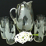 SALE Water Glass Set With Abstract Etched Floral Design