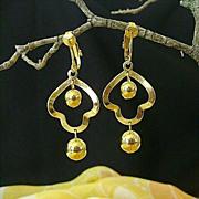 SALE Gold-Tone Dangle Dimestore Earrings - 1950's