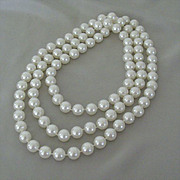 SALE Extra Long Large White Plastic Beads