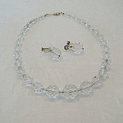 SALE Rock Crystal Graduated Bead Necklace and Earrings Classic 1930s