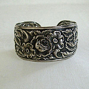 Repousse Sterling Wide Cuff By Kirk