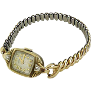 Elgin Wrist Watch With Two Diamonds 10K