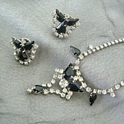 SALE Classic Set Sparkles With Rhinestones And Black Jet