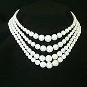 SALE White Milk Glass Bead Necklace For Any Occasion
