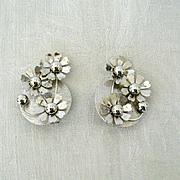 Coro Silver-Tone Floral Earrings 1960s
