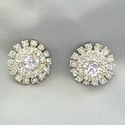 SALE 1950's Dazzling Clear Rhinestone Clip Earrings
