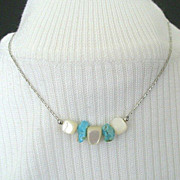 SALE Necklace Features Turquoise & Mother of Pearl Nuggets