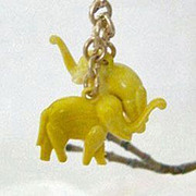 SALE Cracker Jack Elephants Charm With Brass Chain