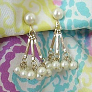 SALE Fantastic Dangle Earrings With Nine Swinging Faux Pearls