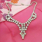 SALE Rhinestone Swag Necklace - 1950's