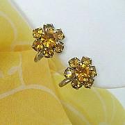 SALE Amber Rhinestone Flowers Glitter On Vintage Earrings