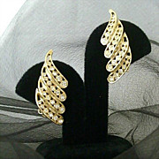 SALE Rows Of Rhinestones March Across Bellini Earrings