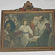 Jesus in the Temple with the Doctors  Religious Print  Artist: H  Hofmann in Gesso Frame